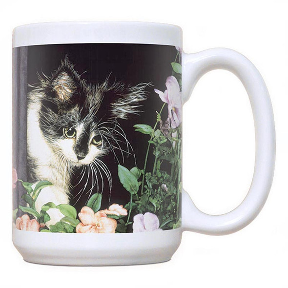 Cat Theme Mug - Cat Flowers - 15oz Coffee Mug - FE-C321