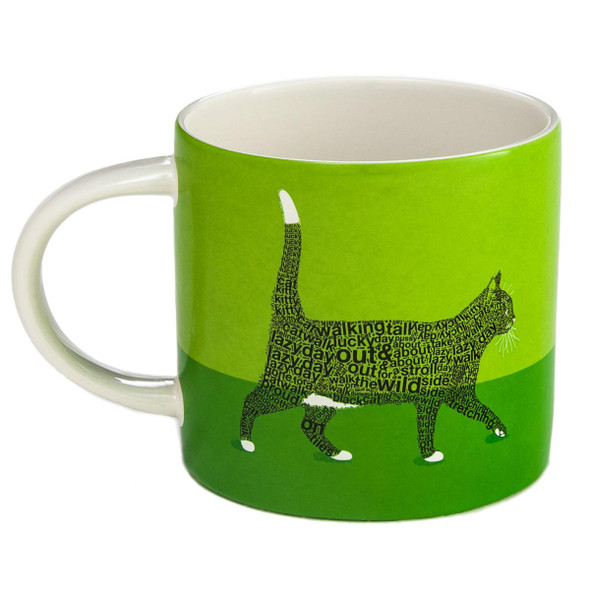 Cat Theme Coffee Mug Green Cat Walk Words