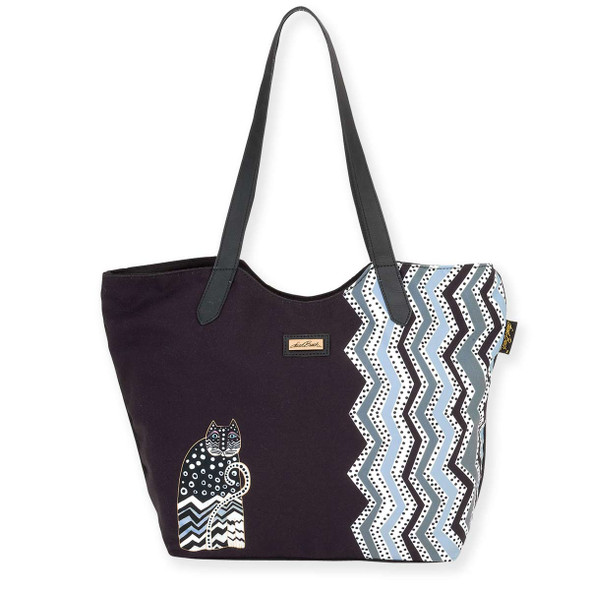 Laurel Burch Polka Dots Cats Scoop Shoulder Tote