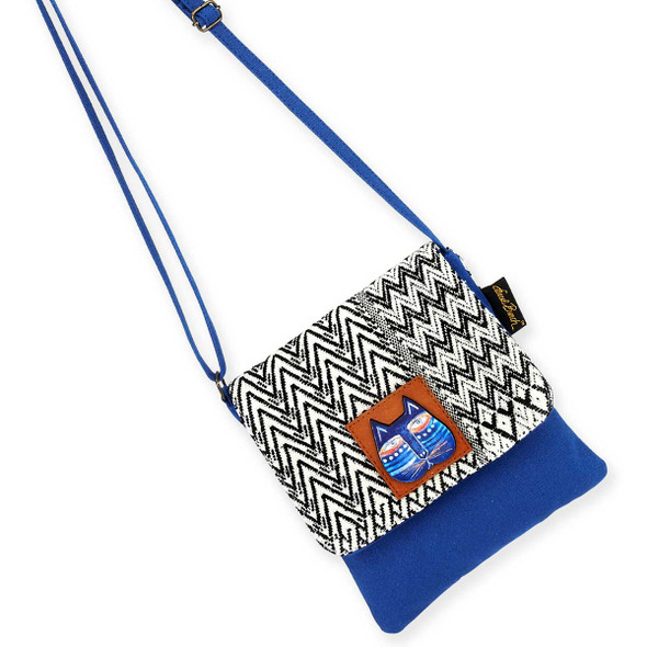 Laurel Burch Indigo Cat Flap Over Woven Crossbody Tote