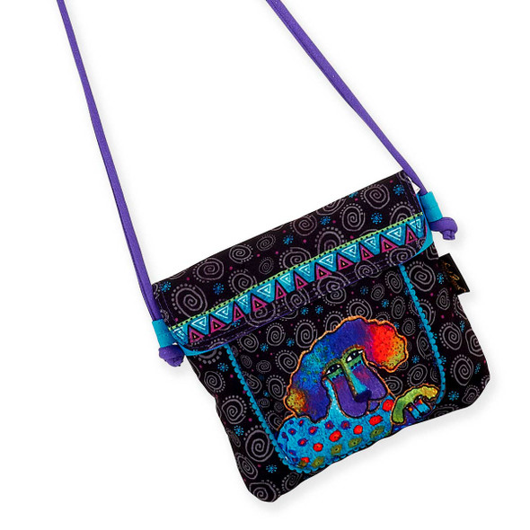 Laurel Burch Poodle Pup Flap Over Crossbody Tote