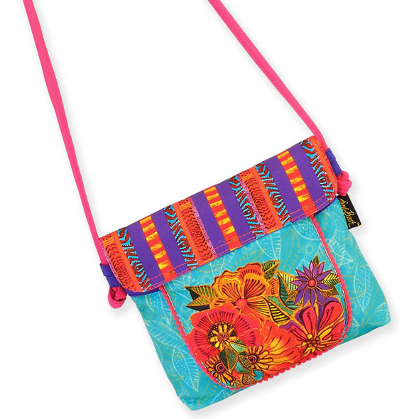 Laurel Burch Flora Floral Garden Flap Over Crossbody Tote