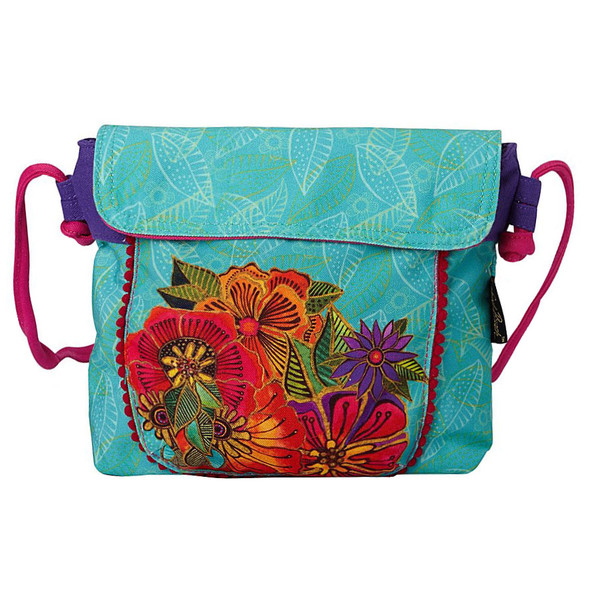Laurel Burch Flora Floral Garden Flap Over Crossbody Tote - LB5904C