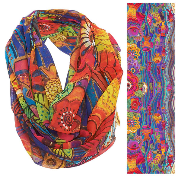Laurel Burch Fish Waves Artistic Infinity Scarf LBI205