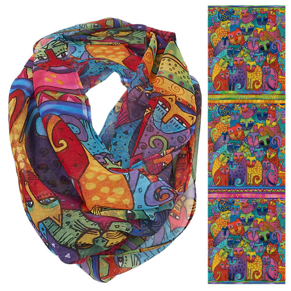 Laurel Burch Feline Cats Tribe Artistic Infinity Scarf