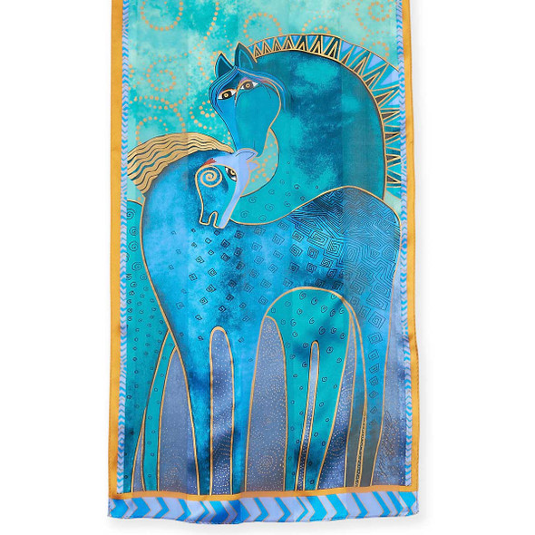 "Laurel Burch Silk Scarf ""Teal Mares"""
