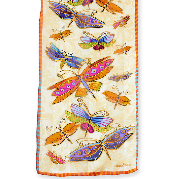 "Laurel Burch Silk Scarf ""Dragonflies"" Cream"