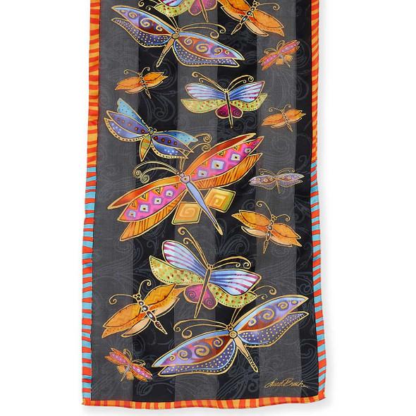 """Laurel Burch Silk Scarf """"Dragonflies"""" Black"""