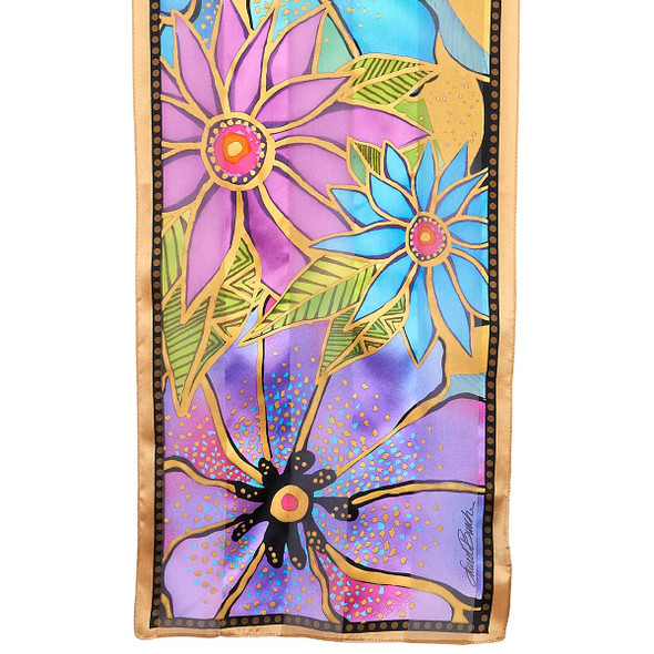 "Laurel Burch Silk Scarf ""Purple Teal Florals"""