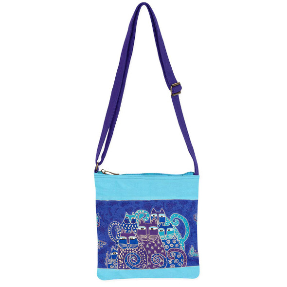 Laurel Burch Indigo Blue Cats Small Crossbody Shoulder Tote