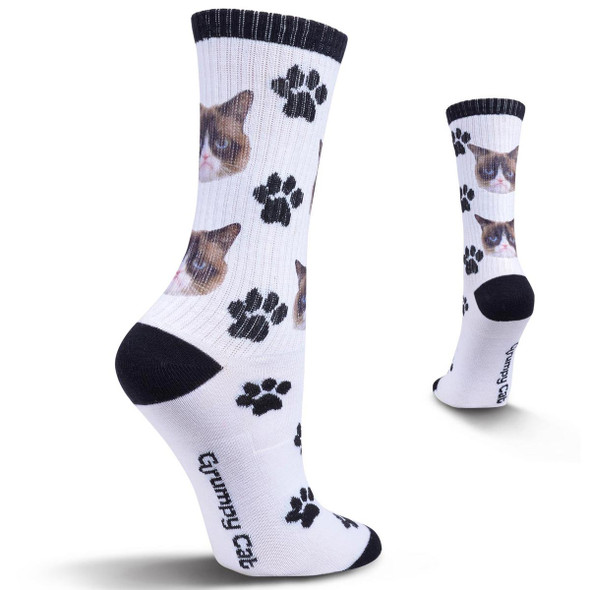 Grumpy Face Cat Print Sox White Socks GCWF15H011-01