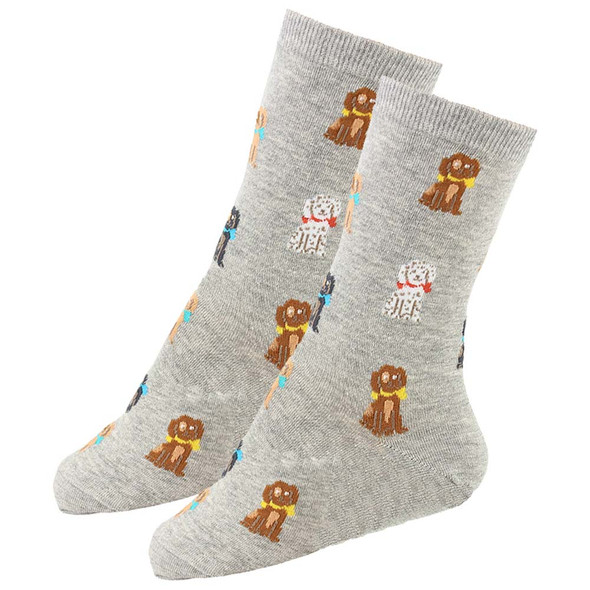 Playful Pups Dog Theme Socks - Gray - KB61648-G