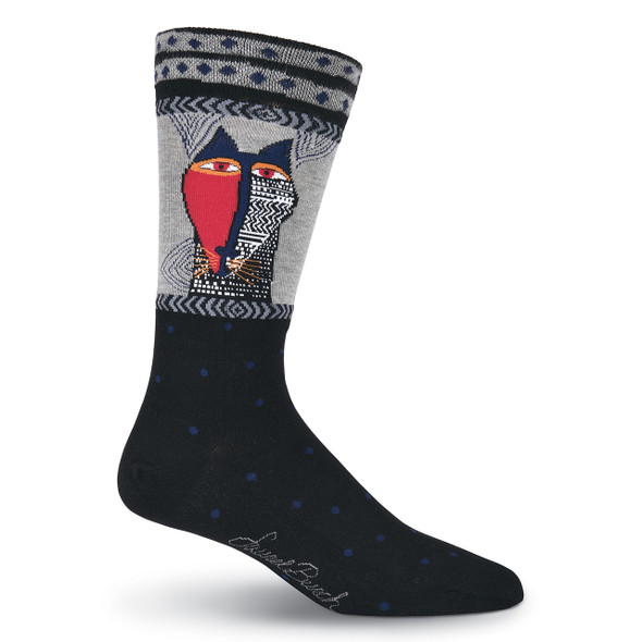 Mens Laurel Burch Native Tribal Cat MENS Crew Socks - LBMS16H020-01