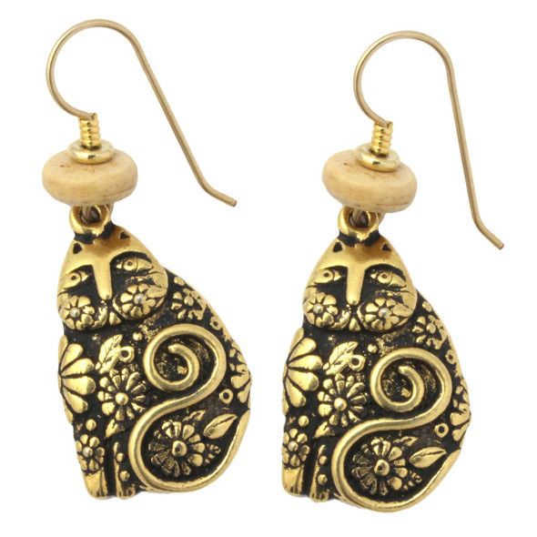 Laurel Burch Flowering Cats GoldTone Cast Drop Earrings - 4034L