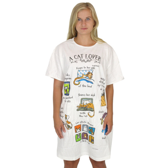 "Cat Theme Sleep Shirt Pajamas ""A Cat Lover"" - 797OT"
