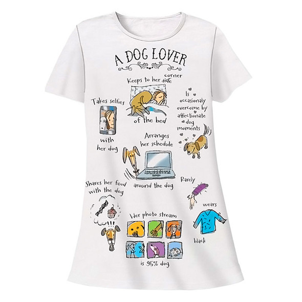 "Dog Theme Sleep Shirt Pajamas ""A Dog Lover"" - 795OT"