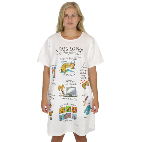 "Dog Theme Sleep Shirt Pajamas ""A Dog Lover"" - 795OT"