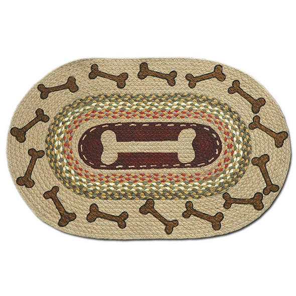 Dog Bones 20x30 Hand Printed Oval Braided Floor Rug OP-024