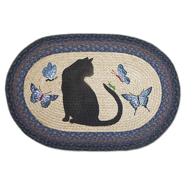 Cat Butterflies 20x30 Hand Printed Oval Braided Floor Rug OP-100