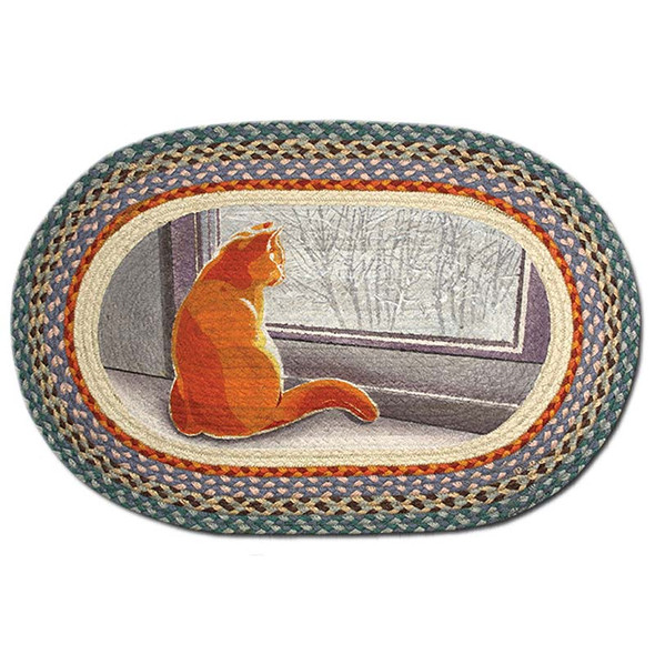 Window Cat 20x30 Hand Printed Oval Braided Floor Rug OP-250