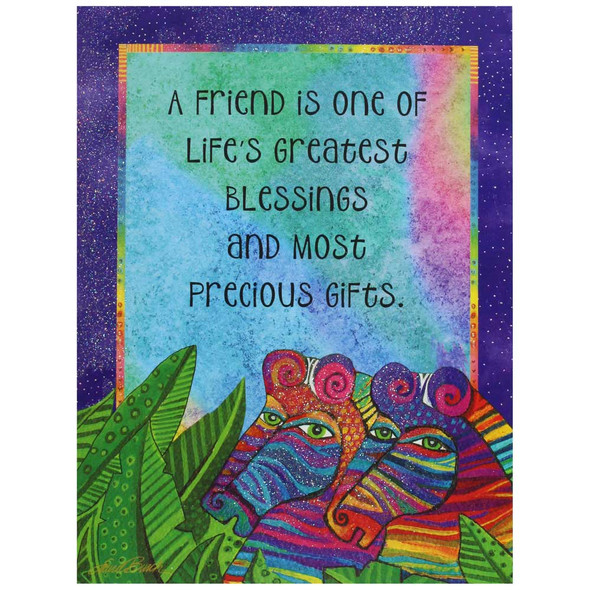 Laurel Burch Friendship Card - Dream a Dream Zebras : Front View