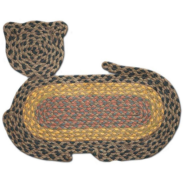 "Braided Cat Shaped Jute Rug 14.5""x19.5"" CT-099 Brown/Green/Gold/Red"