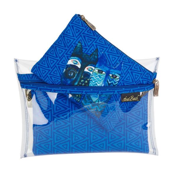 Laurel Burch Set of 3 Cosmetic Bag Indigo Cats LB5906F