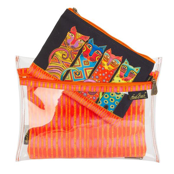 Laurel Burch Set of 3 Cosmetic Bag Feline Clan LB5906G