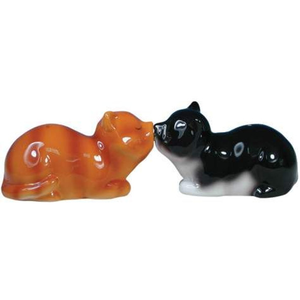 Cats Magnetic Salt and Pepper Shakers Black & Brown -Mwah! - 93402
