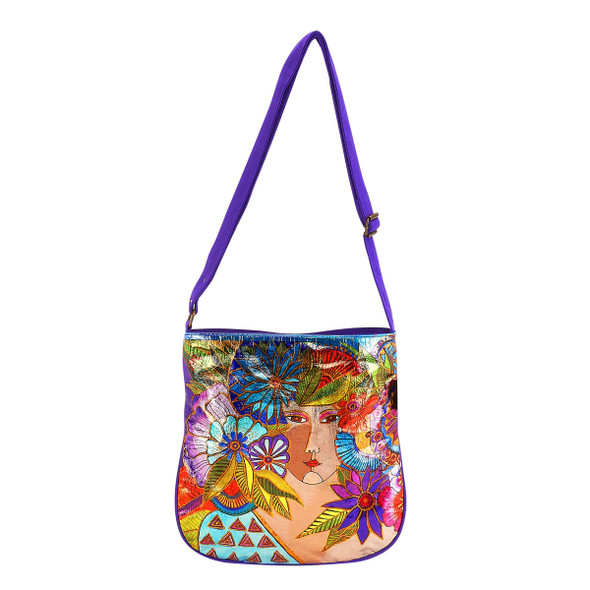Laurel Burch Blossoming Woman Foiled Canvas Crossbody Tote - LB5961