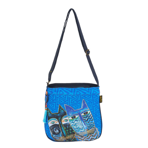 Laurel Burch Blue Cats Canvas Crossbody Tote - LB6033