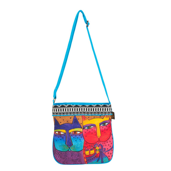 Laurel Burch Feline Family Canvas Crossbody Tote - LB6112