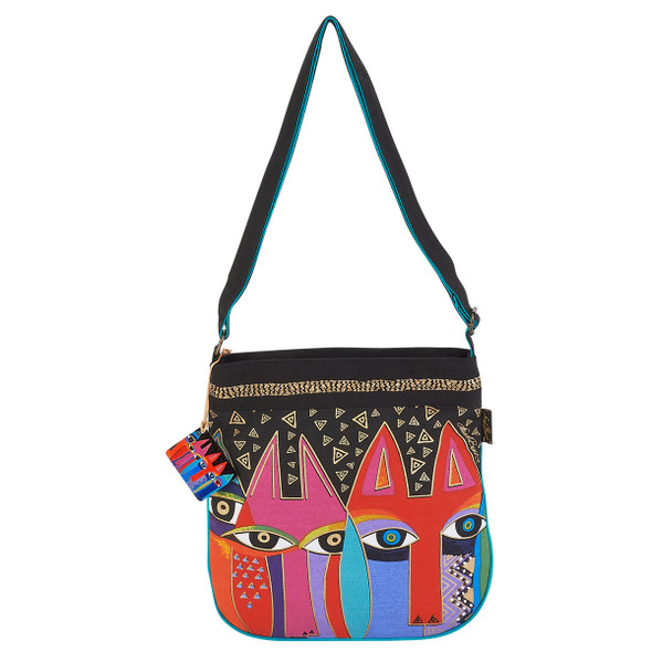 Laurel Burch Tribal Cats Canvas Crossbody Tote - LB6023
