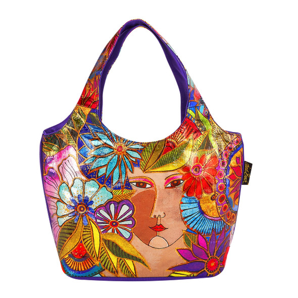 Laurel Burch Blossoming Woman Foiled Canvas Small Scoop Tote - LB5962