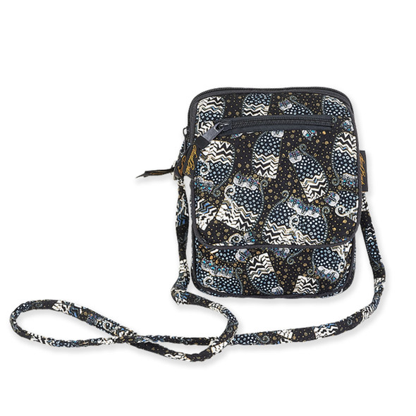 Laurel Burch Black White Polka Dot Wild Cats Quilted Cotton Small Crossbody Bag LB6340
