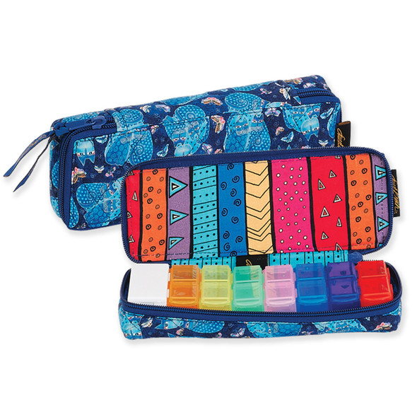 Laurel Burch Indigo Cats Quilted Cotton 7 Day Pill Organizer Bag LB6328