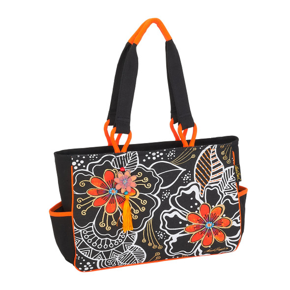 Laurel Burch White on Black Floral Medium Tote - LB6062