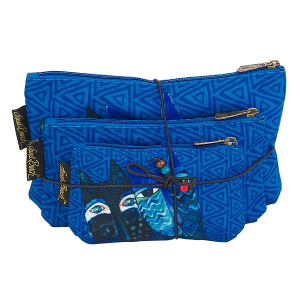 Laurel Burch BLUE Cats 3 BAG SET Cosmetic Bags LB6221