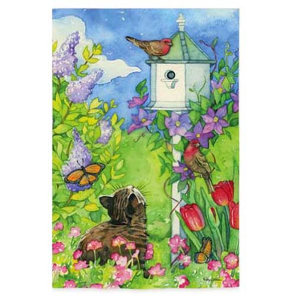 Cat By The Bird House Garden Flag 141933