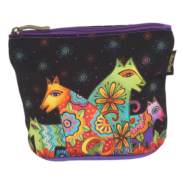 Laurel Burch Dog Cotton Canvas Cosmetic Bag Canine Clan - LB6300F