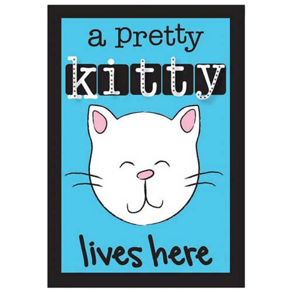 Pretty Kitty Lives Here Applique Garden Flag 167908