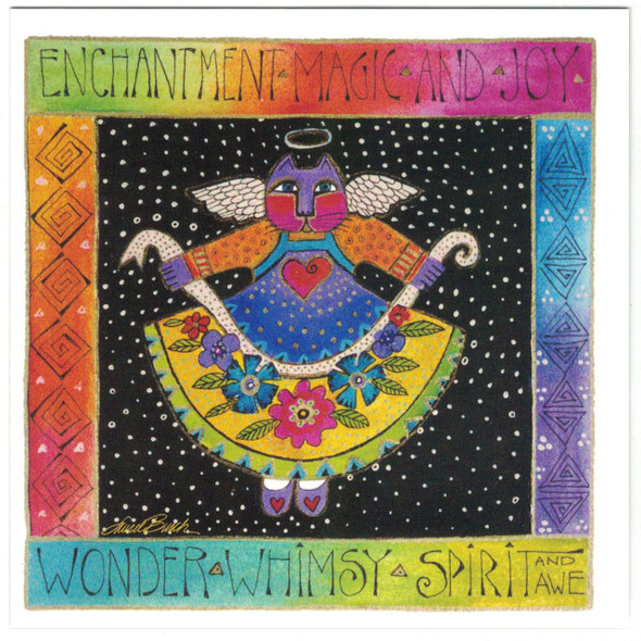 "Laurel Burch Birthday Glitter Card - ""Cat Angel Enchantment"" - Front"