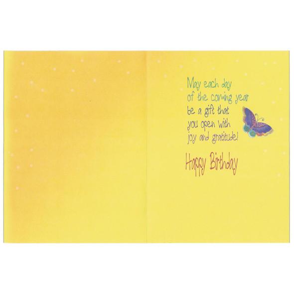 Laurel Burch Glitter Birthday Card - Butterfly Dream - Inside