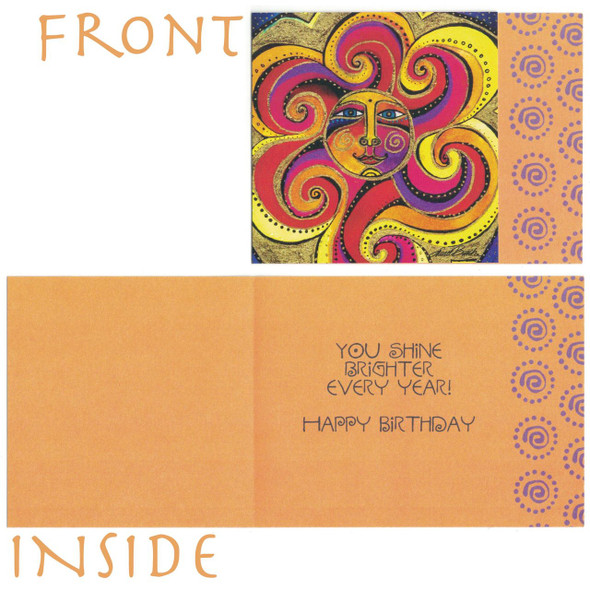 Laurel Burch Cheerful Colorful Sunshine Small Birthday Card - Inside
