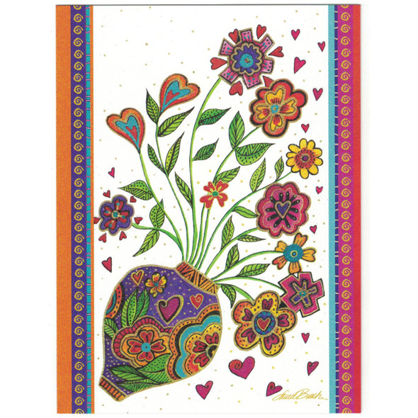 Laurel Burch Glitter Greeting Card - Friend Vase Bouquet Flowers - Front