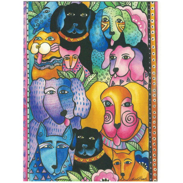 Laurel Burch Friendship Greeting Card - Canine Dog Fiesta - Front