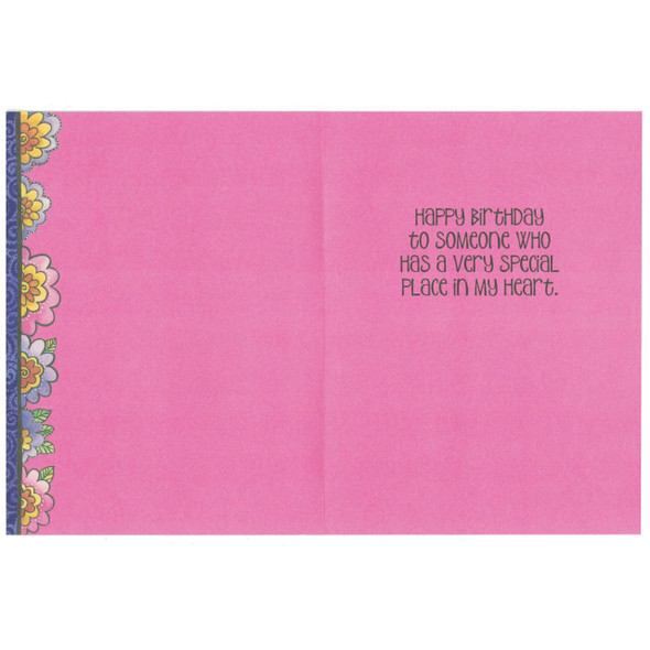 Laurel Burch Birthday Glitter Card - Pink Puppy Dog - Inside