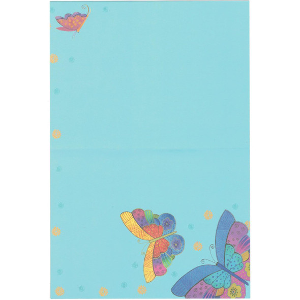 Laurel Burch Blank Greeting Card - Colorful Butterfly Butterflies - Blue