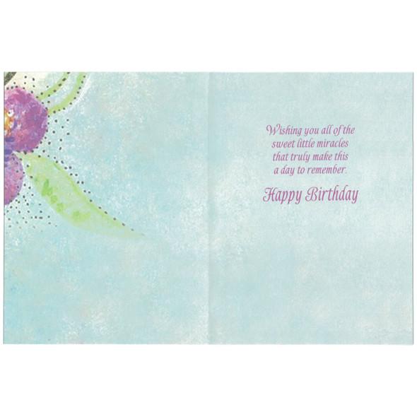 Laurel Burch Birthday Greeting Glitter Card - Hummingbird Humming Along - 17493