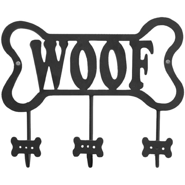 "Metal Art Wall Dog Triple Leash Hook Panel ""Woof"" - 53903"
